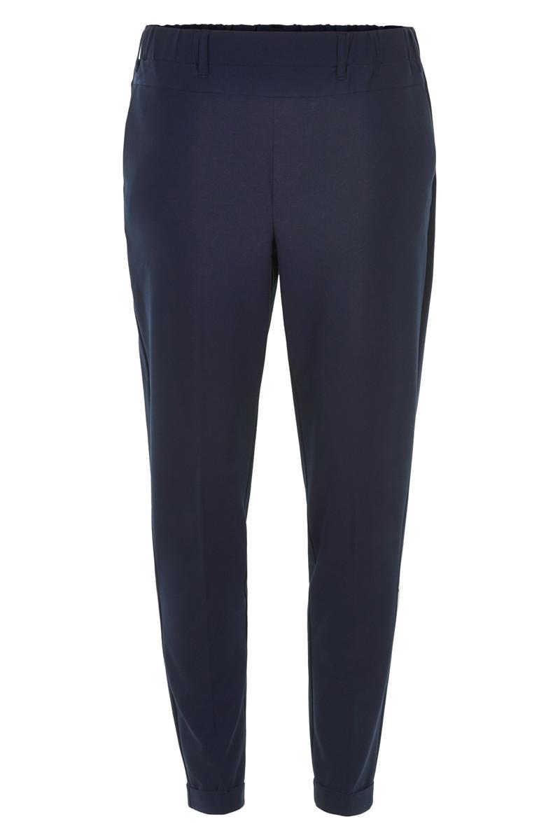 blauwe broek van soepel materiaal met elastiek